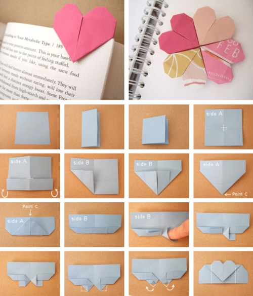 Origami Heart Bookmark Do It And How