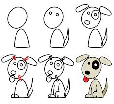 how to draw a cartoon dog head