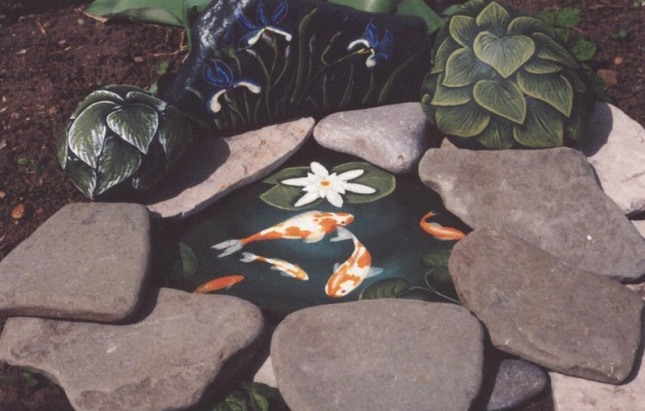 Koi_pond_with_iris_and_hostas