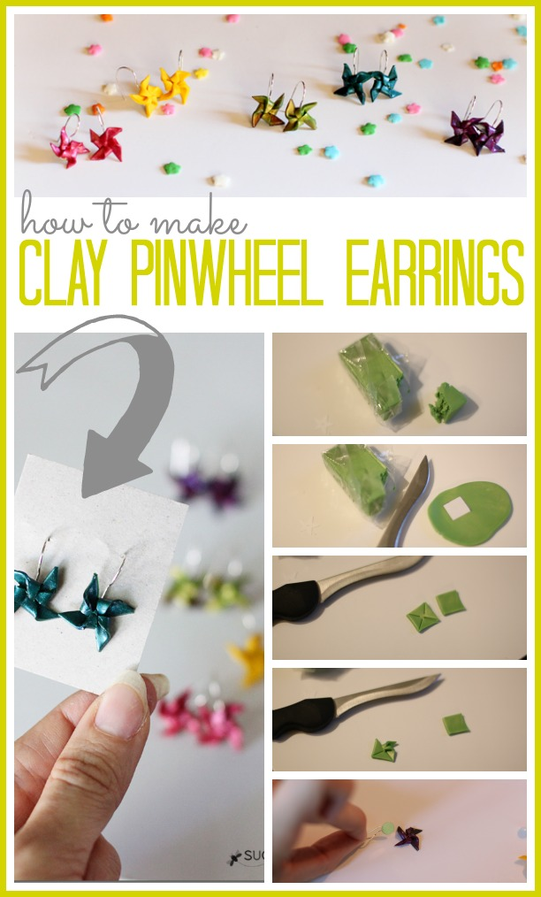 how to make clay pinwheel earrings