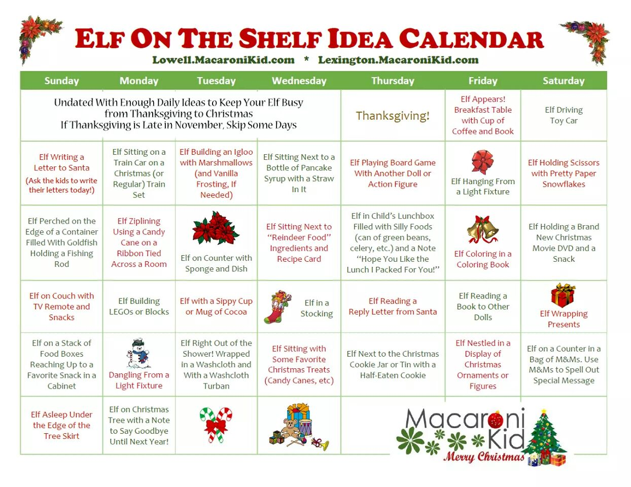Elf On The Shelf Calendar  Do It And How
