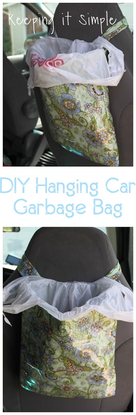 DIY hanging car garbage bag