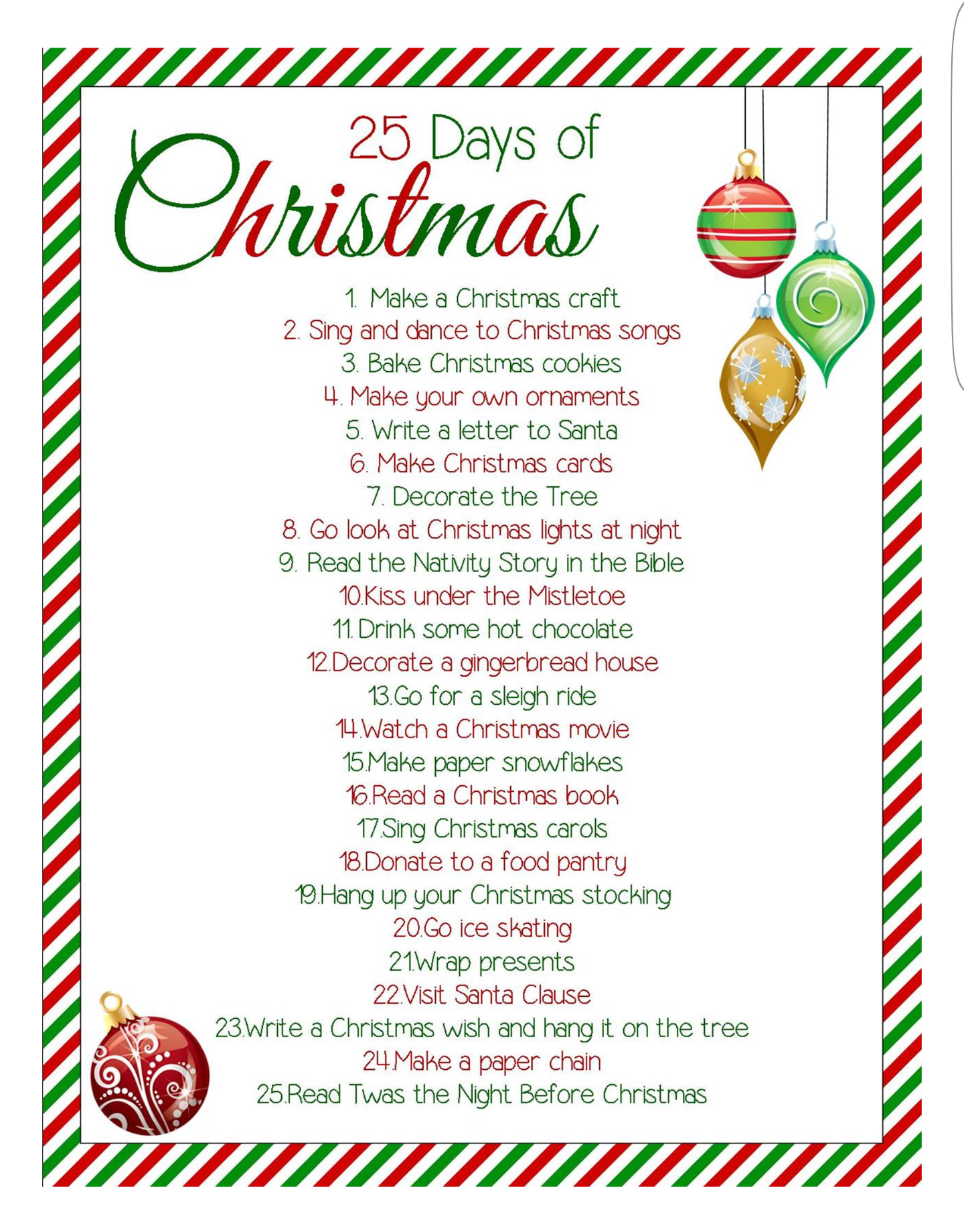 25 days of christmas activities