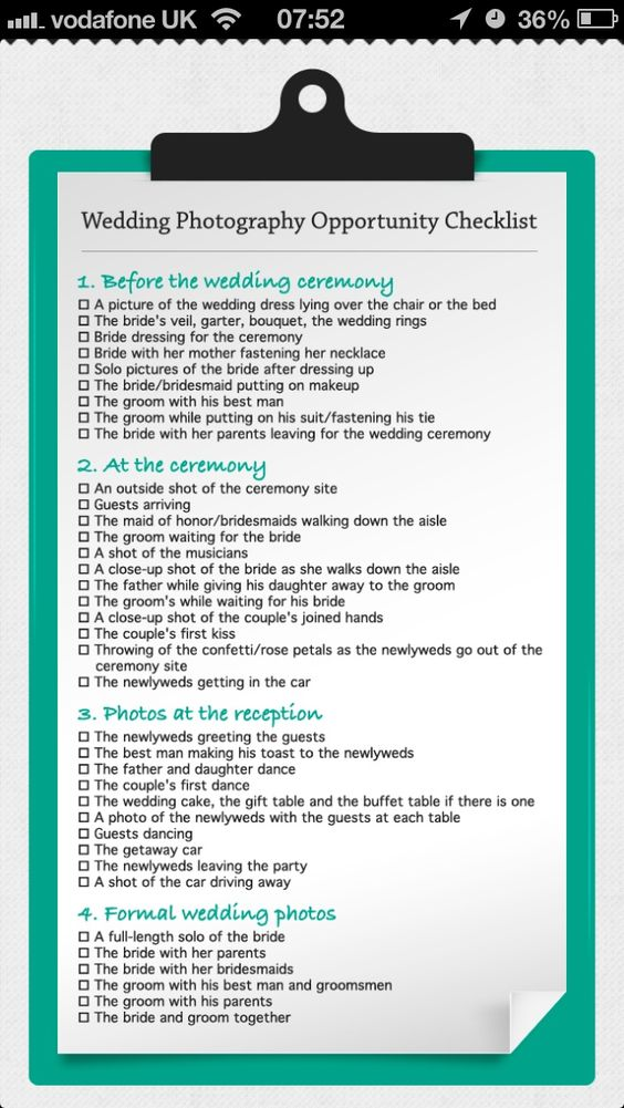 Wedding photo opportunity checklist do it and how wedding photo opportunity checklist junglespirit Gallery