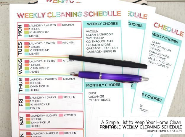 weeklycleaningschedule30days