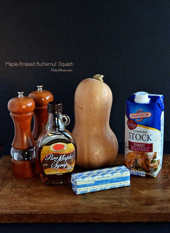 Ingreditents for Maple-Braised Butternut Squash recipe at TidyMom.net