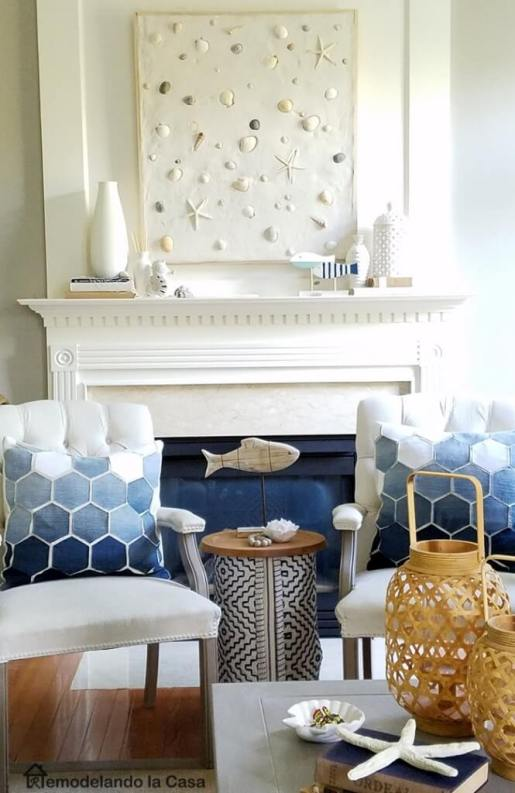 Summer-Mantel-with-seashells-art-Coastal-decor-665x1024