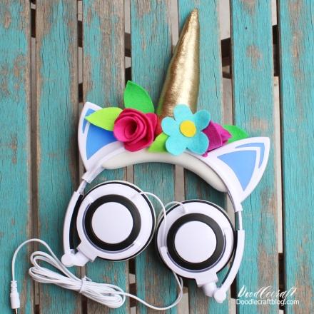 unicorn horn flowers headphones craft diy doodlecraft (1)