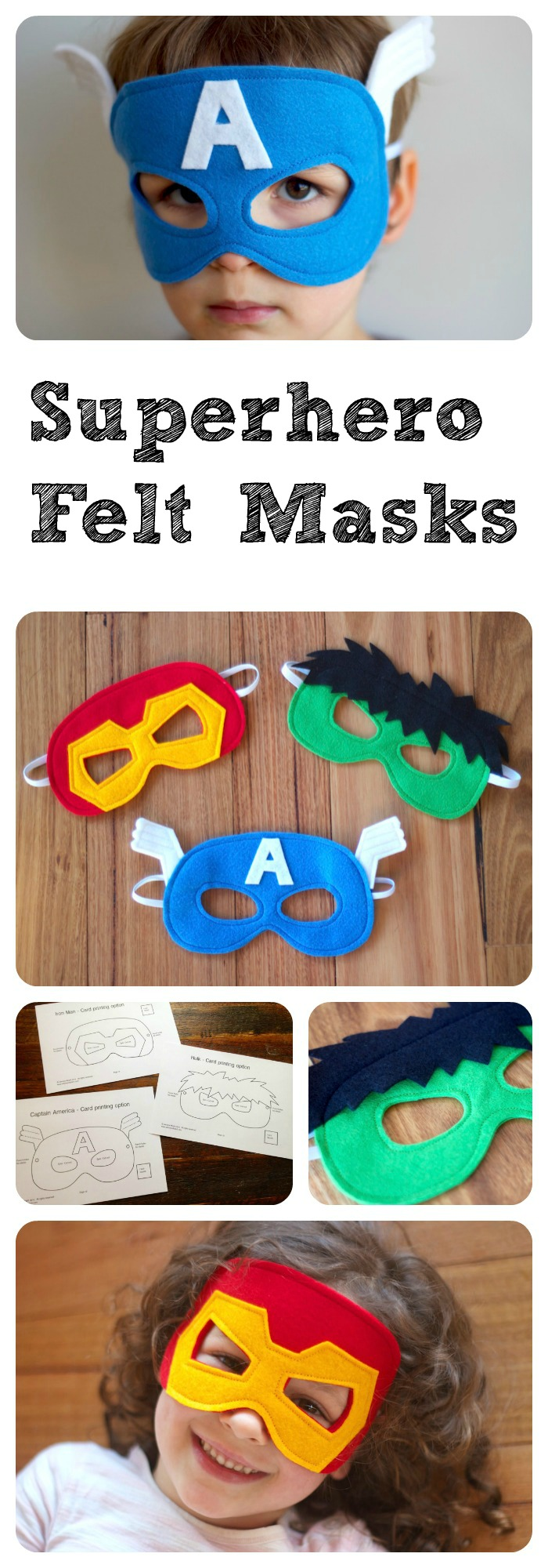 Superhero+Felt+Masks+-+A+PDF+sewing+pattern+-+Captain+America,+Hulk+and+Ironman