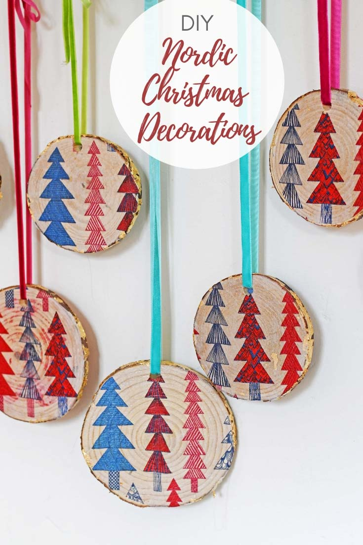 Decoupaged Wood Slice Ornaments \u2013 Do It And How