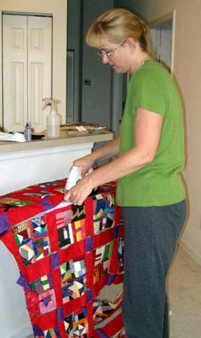 bonnie ironing her webbed top