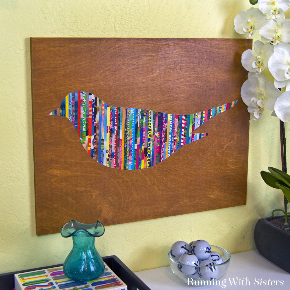 Magazine-Strip-Bird-Wall-Art-Square