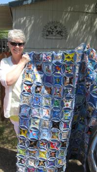 Pat and the terrific denim quilt! (2)