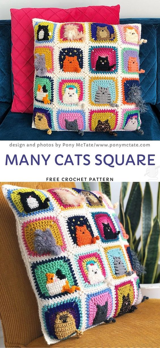 Crochet CAT PATTERN for Wash Cloth, Dishcloth, Baby Blanket Square ...   1222x564